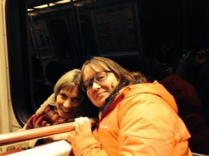 on the metro with mom.