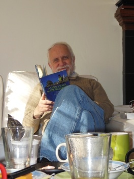 dad relaxing after we spent all morning opening presents at a very slow speed.
