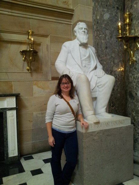 Saying hi to Brigham Young at the Capitol (December/Washington DC)